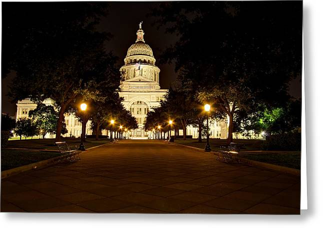 Greeting Card featuring the photograph Texas Capitol At Night by Dave Files