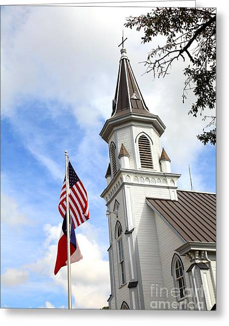 Texas Church And Flags Greeting Card by Pattie Calfy