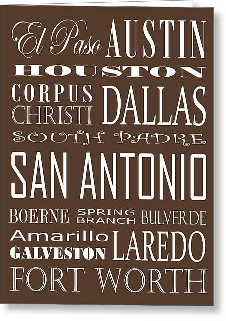 Texas Cities On Brown Greeting Card by Debbie Karnes
