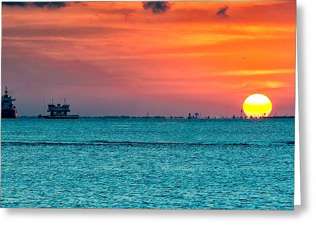 Sunset On The Houston Ship Channel Greeting Card