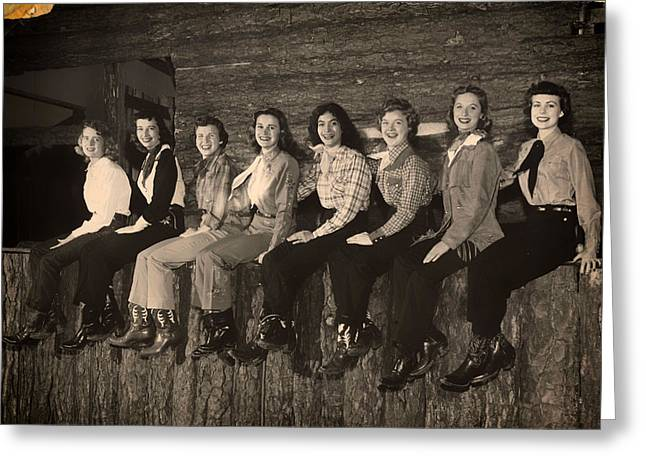 Texas Cowgirls 1950s Greeting Card