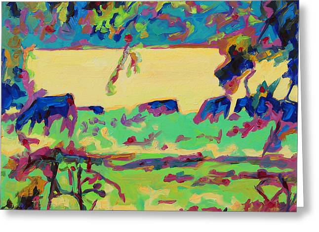 Texas Cows Grazing Landscape By Bertram Poole Greeting Card