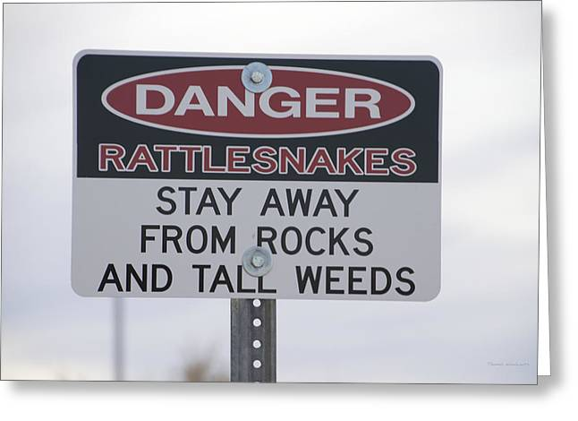 Texas Danger Rattle Snakes Signage Greeting Card by Thomas Woolworth