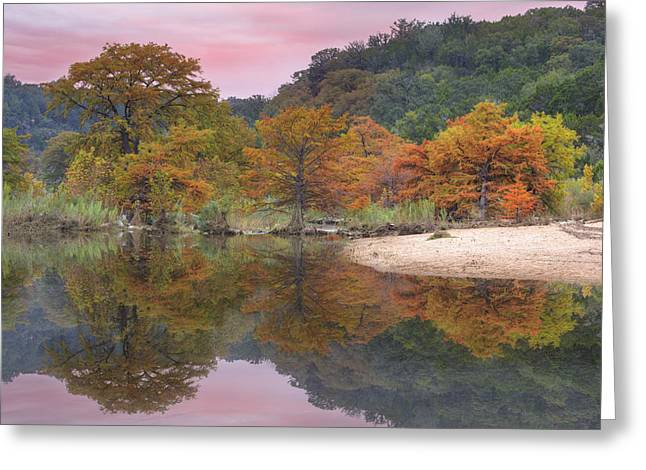Texas Fall Colors - Pedernales Falls State Park Reflections 1 Greeting Card by Rob Greebon