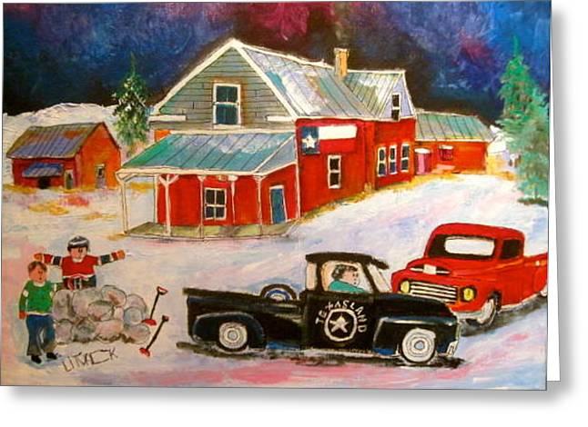 Texas Farm Winter Greeting Card by Michael Litvack