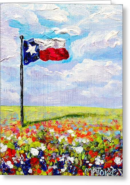 Texas Flag And Wildflowers Greeting Card by Melissa Torres