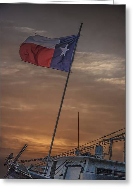 Texas Flag Flying From A Fishing Boat At Sunrise Greeting Card