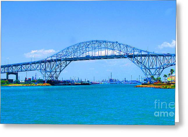 Texas Harbor Bridge Greeting Card by Tina M Wenger