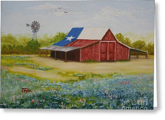 Greeting Card featuring the painting Texas Hill Country Barn by Jimmie Bartlett