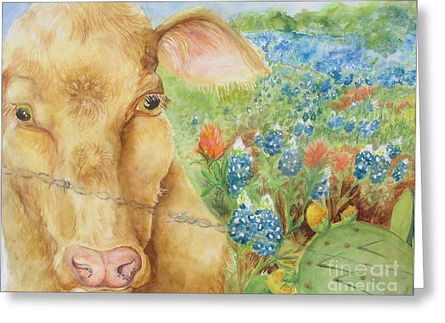 Texas Hill Country Cow Greeting Card by Lynn Maverick Denzer