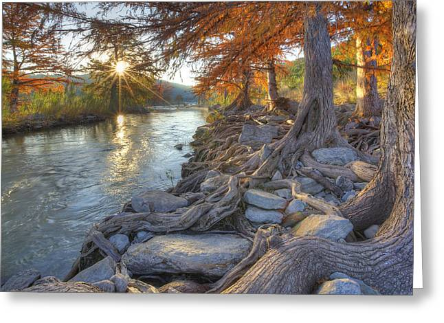 Texas Hill Country Images - Pedernales Falls State Park Sunrise  Greeting Card by Rob Greebon