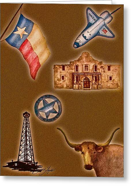 Texas Icons Poster By Sant'agata Greeting Card by Frank SantAgata