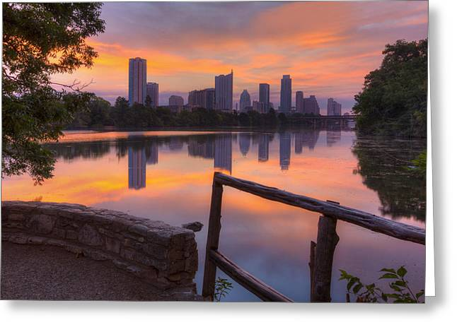 Texas Images - Lou Neff Point And The Austin Skyline Greeting Card by Rob Greebon