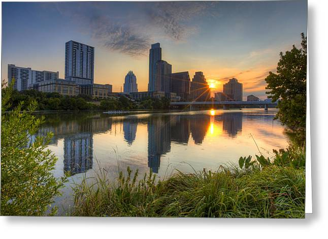 Texas Images - Austin Skyline At Sunrise From Zilker Park Greeting Card by Rob Greebon