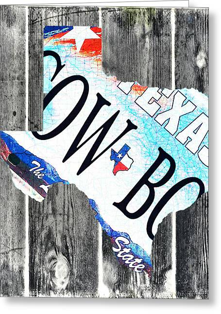 Texas License Plate Map Greeting Card by Bill Cannon
