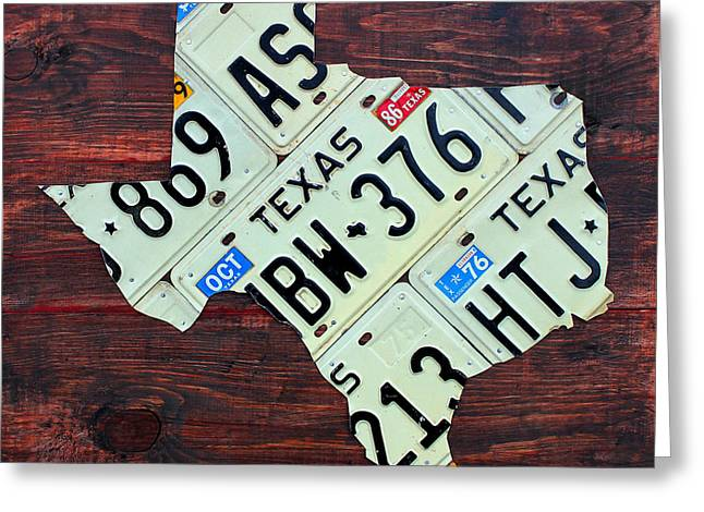 Texas License Plate Map The Lone Star State On Fruitwood Greeting Card by Design Turnpike