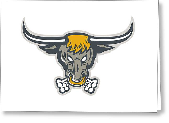 Texas Longhorn Bull Head Front Greeting Card by Aloysius Patrimonio