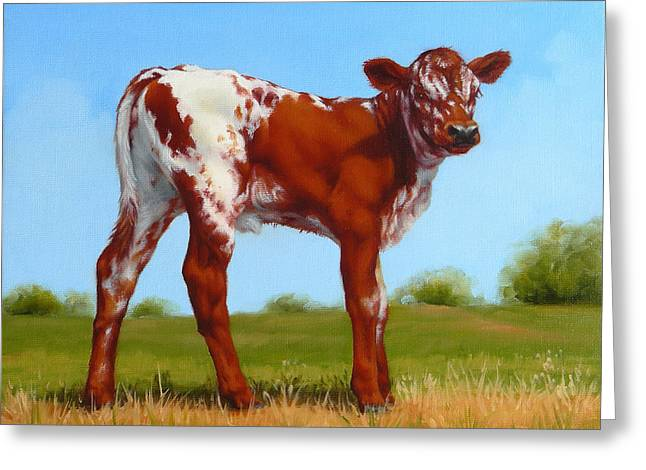 Greeting Card featuring the painting Texas Longhorn New Calf by Margaret Stockdale