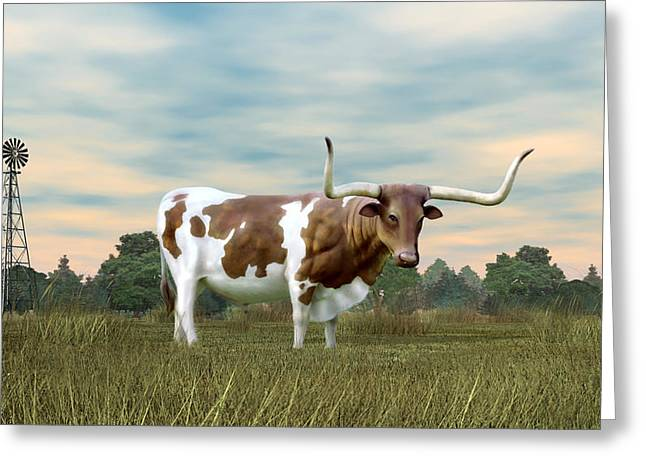 Texas Longhorn  Greeting Card by Walter Colvin