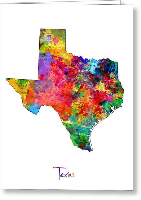 Texas Map Greeting Card