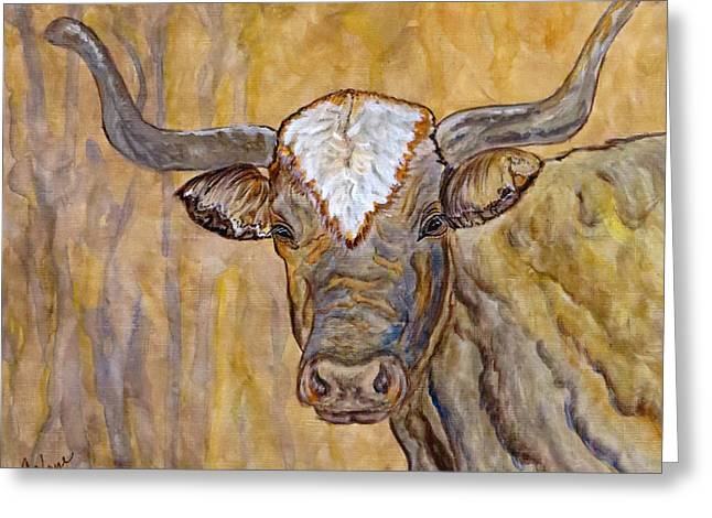 Greeting Card featuring the painting Texas O Texas Longhorn by Ella Kaye Dickey