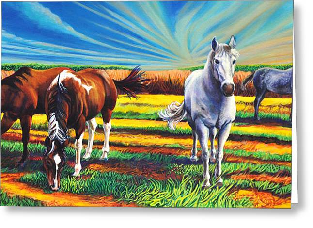 Greeting Card featuring the painting Texas Quarter Horses by Greg Skrtic