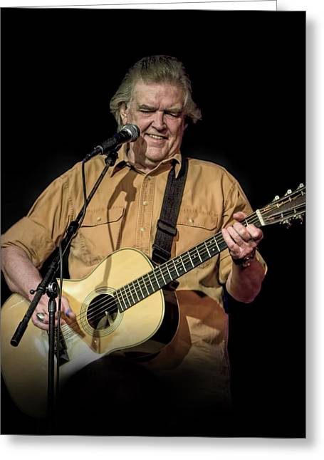 Texas Singer Songwriter Guy Clark In Concert Greeting Card by Randall Nyhof