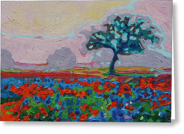 Texas Spring Flowers Oil Painting Bertram Poole Greeting Card