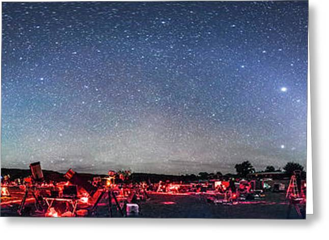 Texas Star Party Panorama At Night Greeting Card by Alan Dyer