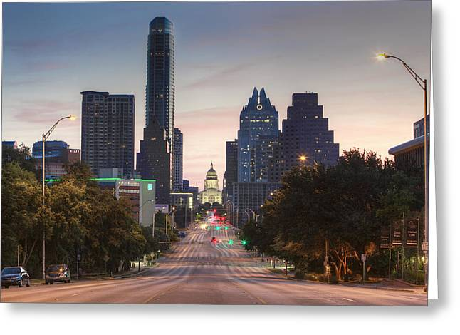 The Austin Skyline And Texas State Capitol From Congress 1 Greeting Card by Rob Greebon