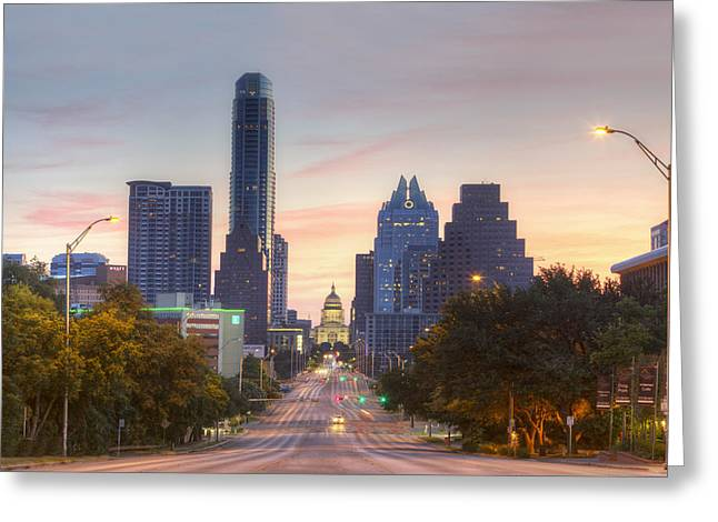 Texas State Capitol From Congress Avenue In The Morning 7 Greeting Card by Rob Greebon