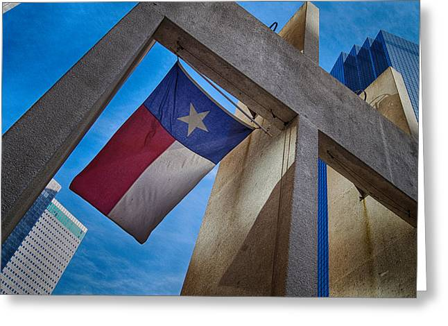 Greeting Card featuring the photograph Texas State Flag Downtown Dallas by Kathy Churchman