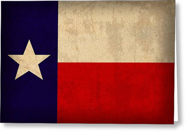Texas State Flag Lone Star State Art On Worn Canvas Greeting Card by Design Turnpike