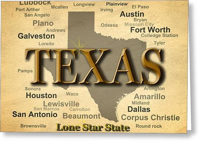 Texas State Pride Map Silhouette  Greeting Card by Keith Webber Jr