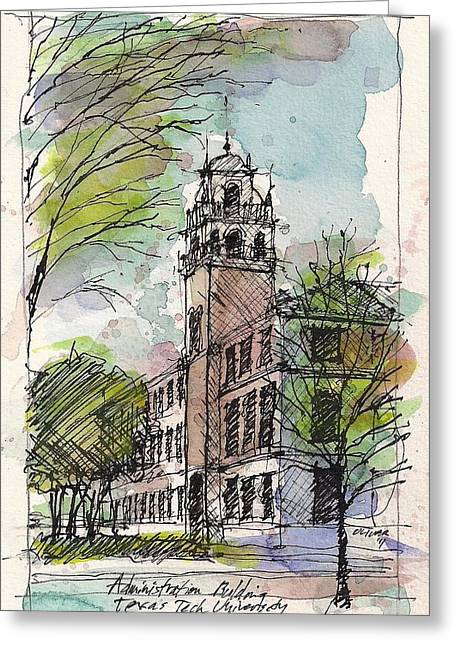 Texas Tech Administration Building Greeting Card by Tim Oliver