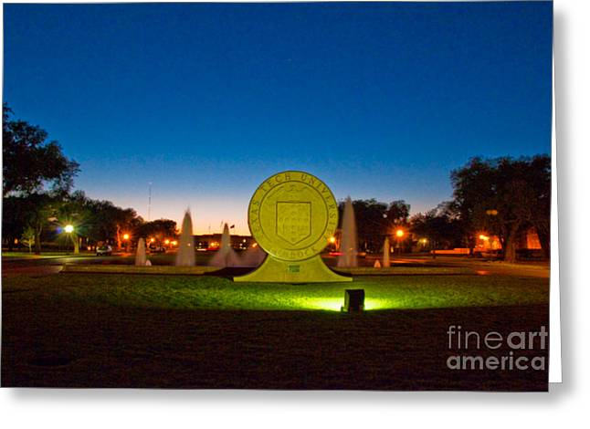 Greeting Card featuring the photograph Texas Tech Seal At Night by Mae Wertz