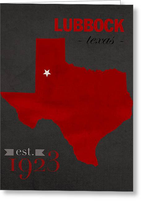 Texas Tech University Red Raiders Lubbock College Town State Map Poster Series No 109 Greeting Card by Design Turnpike
