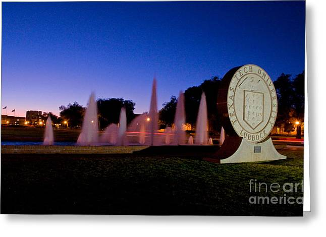 Greeting Card featuring the photograph Texas Tech University Seal And Blue Sky by Mae Wertz