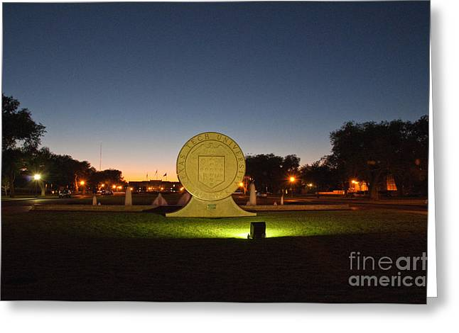 Texas Tech University Seal At Sundown Second Image Greeting Card by Mae Wertz