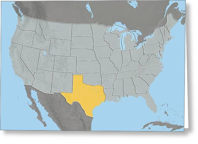 Texas, Usa, Relief Map Greeting Card by Science Photo Library