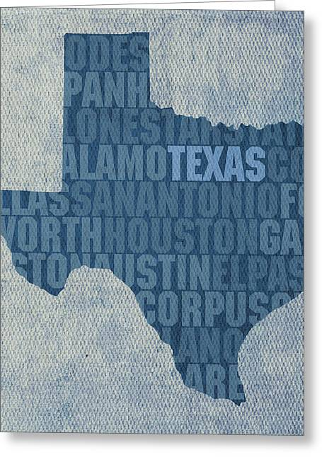 Texas Word Art State Map On Canvas Greeting Card by Design Turnpike