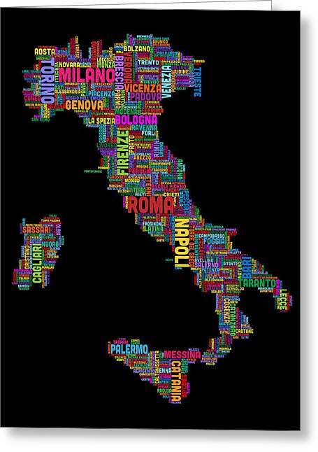 Text Map Of Italy Map Greeting Card