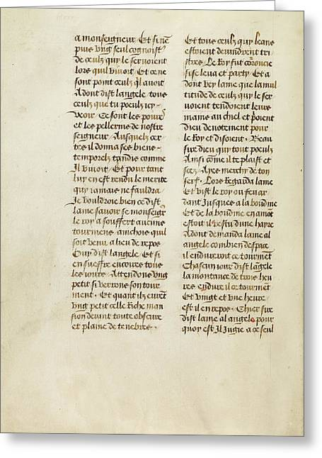 Text Page Unknown Ghent, Belgium, Europe 1475 Tempera Colors Greeting Card by Litz Collection