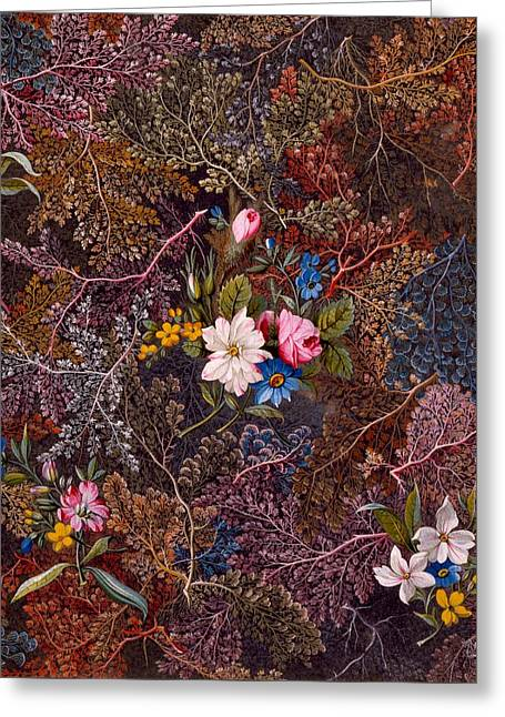 Antique Floral Textile Pattern Greeting Card by William Kilburn