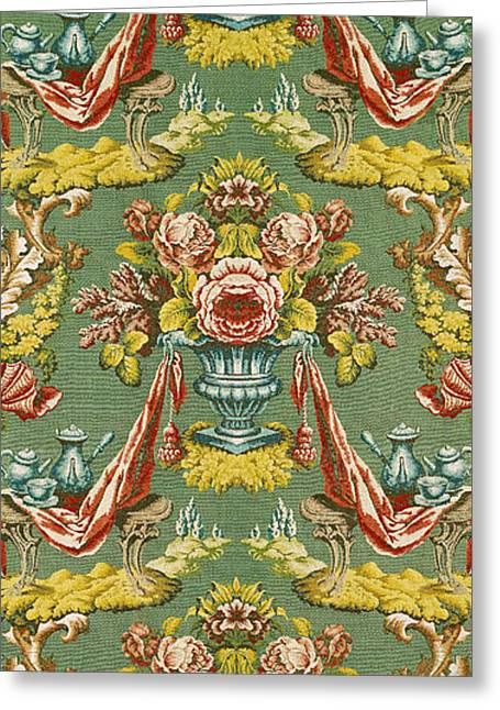 Textile With A Repeating Floral Motif, Lyon Workshop, Circa 1730 Silk Brocade Greeting Card
