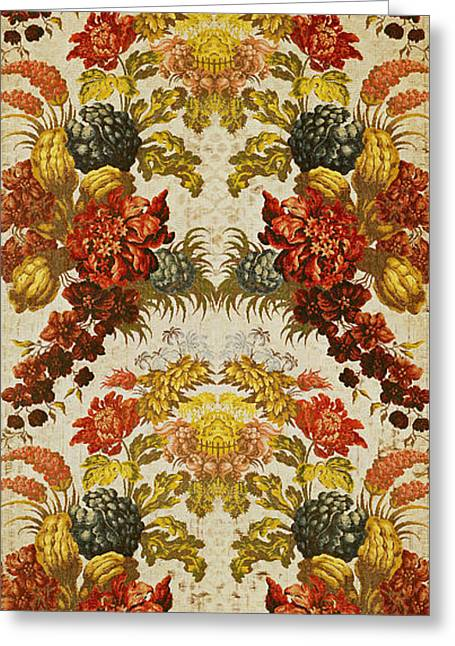 Textile With A Repeating Floral Pattern, Lyon Workshop, C.1740 Silk Brocade Greeting Card by French School