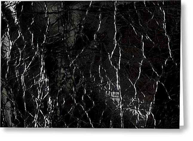 Texture Of Shiny Black Leather Greeting Card by IB Photo