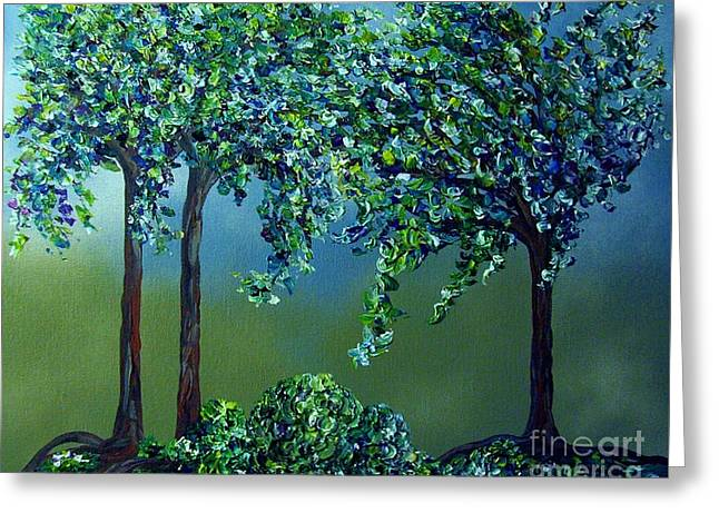 Greeting Card featuring the painting Texture Trees by Eloise Schneider