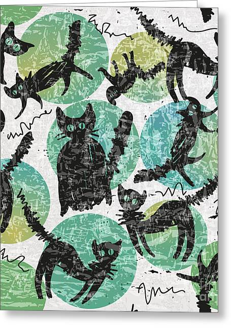 Textured Background With Black Cats And Greeting Card