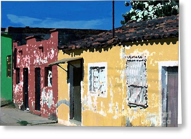 Textured - City In Mexico Greeting Card by Gena Weiser